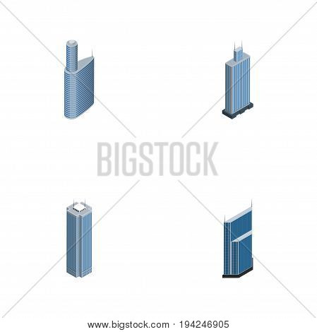 Isometric Skyscraper Set Of Skyscraper, Residential, Business Center And Other Vector Objects. Also Includes Building, Exterior, Skyscraper Elements.