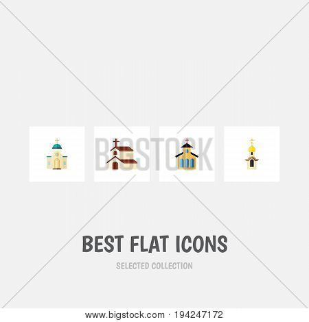 Flat Icon Building Set Of Religion, Catholic, Religious And Other Vector Objects. Also Includes Religion, Building, Structure Elements.