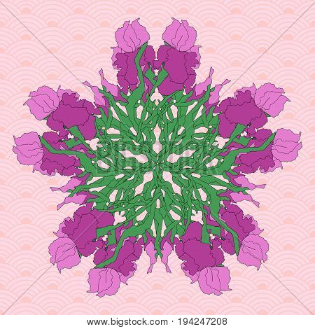 Vector background, mandala. Floral round pattern with hand-drawing irises, stylized traditional Chinese painting, Japanese art sumi-e