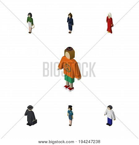 Isometric Person Set Of Policewoman, Businesswoman, Male And Other Vector Objects. Also Includes Officer, Man, Businesswoman Elements.