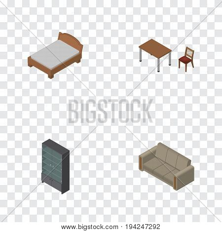 Isometric Furnishing Set Of Sideboard, Couch, Chair And Other Vector Objects. Also Includes Bedstead, Settee, Sideboard Elements.