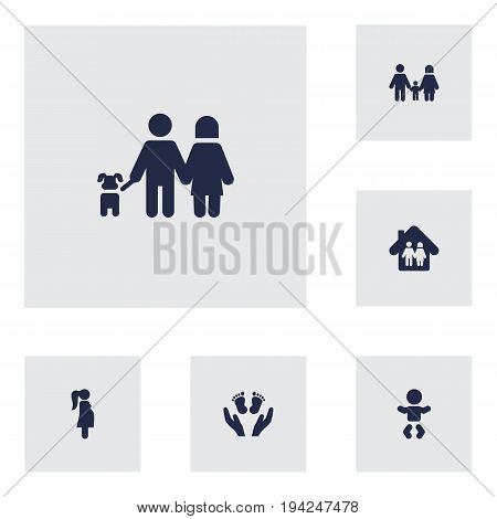 Set Of 6 People Icons Set.Collection Of Family In Home, Kid, Walking And Other Elements.