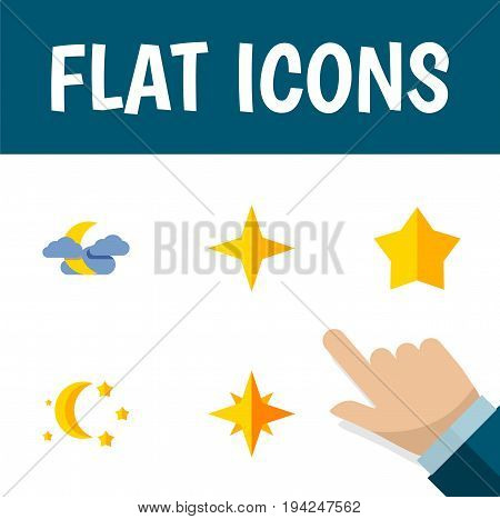 Flat Icon Bedtime Set Of Starlet, Asterisk, Bedtime And Other Vector Objects. Also Includes Sky, Twilight, Star Elements.
