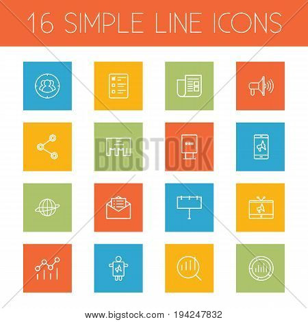 Set Of 16 Advertising Outline Icons Set.Collection Of Billboard, Campaign, Direct Message And Other Elements.