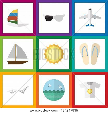 Flat Icon Season Set Of Spectacles, Aircraft, Clothes And Other Vector Objects. Also Includes Aircraft, Eyeglasses, Surfing Elements.