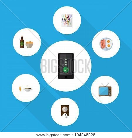 Flat Icon Lifestyle Set Of Beer With Chips, Fried Egg, Router And Other Vector Objects. Also Includes Subway, Cellphone, Sausage Elements.