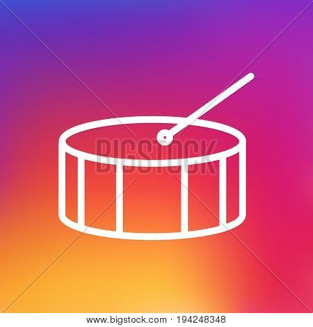 Isolated Drum Outline Symbol On Clean Background. Vector Percussion  Element In Trendy Style.