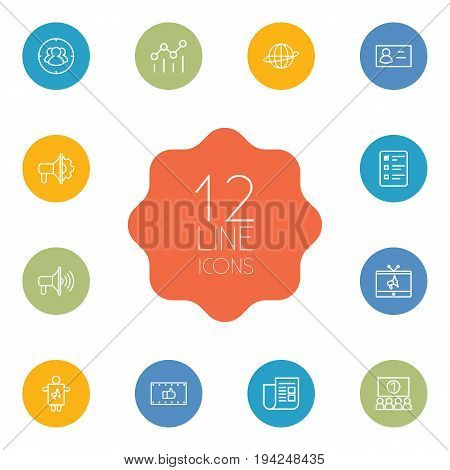 Set Of 12 Advertising Outline Icons Set.Collection Of Audience, Tv, Advertising Agency And Other Elements.