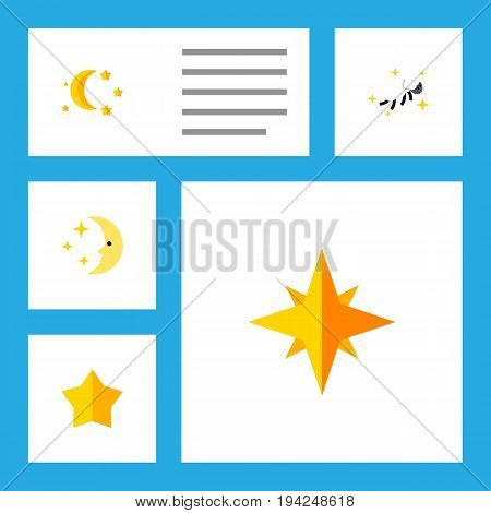 Flat Icon Bedtime Set Of Starlet, Bedtime, Nighttime And Other Vector Objects. Also Includes Star, Moon, Asterisk Elements.