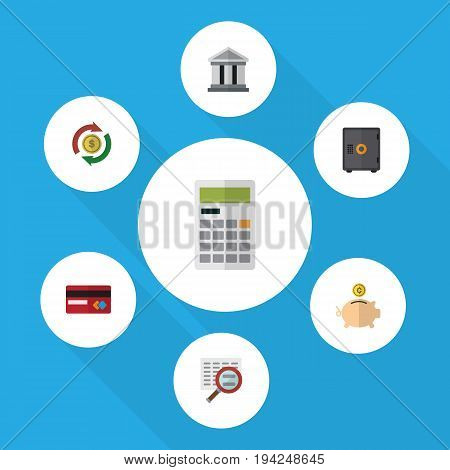 Flat Icon Gain Set Of Calculate, Bank, Interchange And Other Vector Objects. Also Includes Calculator, Bank, Mastercard Elements.