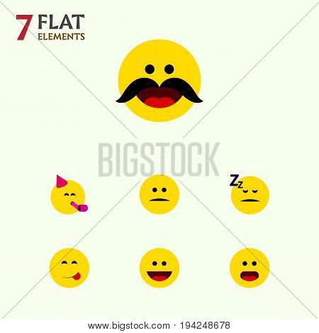 Flat Icon Face Set Of Asleep, Wonder, Party Time Emoticon And Other Vector Objects. Also Includes Smile, Food, Fun Elements.