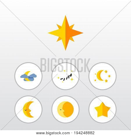 Flat Icon Bedtime Set Of Bedtime, Lunar, Moon And Other Vector Objects. Also Includes Crescent, Star, Midnight Elements.