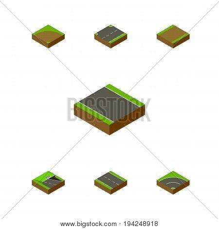 Isometric Way Set Of Upwards, Without Strip, Footpath And Other Vector Objects. Also Includes Asphalt, Bitumen, Lane Elements.