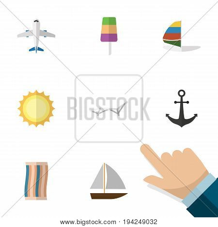 Flat Icon Summer Set Of Sundae, Ship Hook, Yacht And Other Vector Objects. Also Includes Craft, Vessel, Cream Elements.
