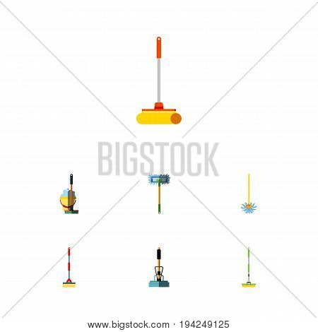 Flat Icon Mop Set Of Broom, Equipment, Broomstick And Other Vector Objects. Also Includes Sweeper, Sweep, Cleaner Elements.