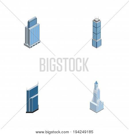 Isometric Skyscraper Set Of Apartment, Urban, Cityscape And Other Vector Objects. Also Includes Urban, Skyscraper, Tower Elements.