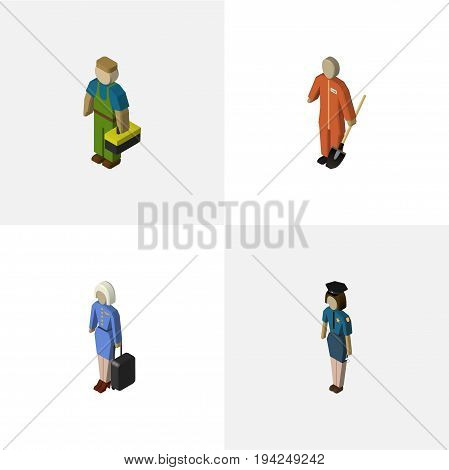 Isometric People Set Of Cleaner, Plumber, Policewoman And Other Vector Objects. Also Includes Stewardess, Lady, Female Elements.
