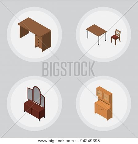 Isometric Furniture Set Of Table, Cupboard, Drawer And Other Vector Objects. Also Includes Chair, Cupboard, Sideboard Elements.