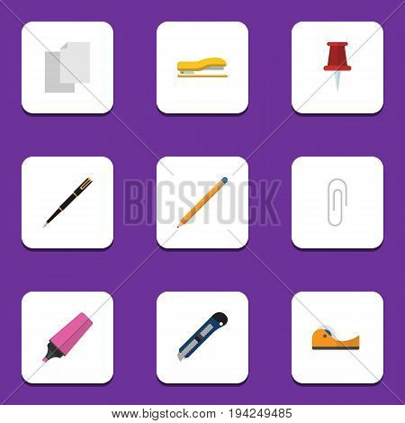 Flat Icon Stationery Set Of Sticky, Drawing Tool, Sheets And Other Vector Objects. Also Includes Adhesive, Sheet, Nib Elements.