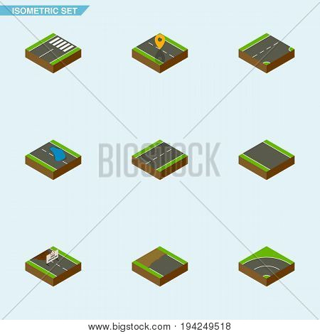 Isometric Road Set Of Cracks, Footer, Navigation And Other Vector Objects. Also Includes Bitumen, Road, Plash Elements.