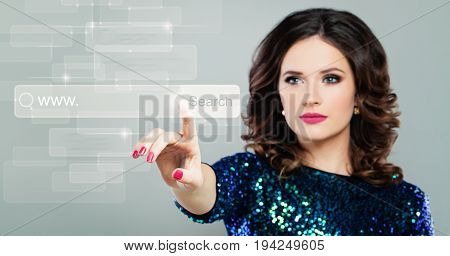 Internet Surfing and www Concept with Pointing Female Hand. Beautiful Woman with Virtual Display with Search Icon