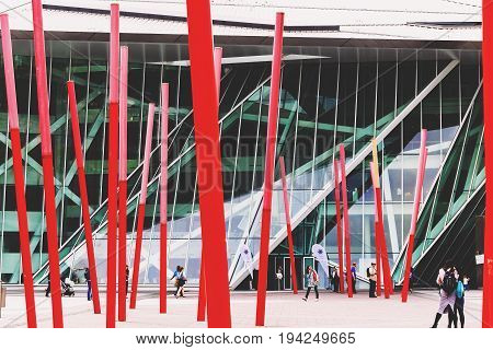 DUBLIN IRELAND - 5th July 2017: detail of the Docklands aea of Dublin featuring the Bord Gais Theatre