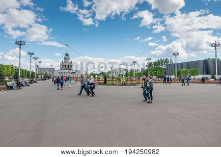 Moscow Russia - May 27 2017: people walking in the park of VDNKh - Exhibition of Achievements of National Economy.