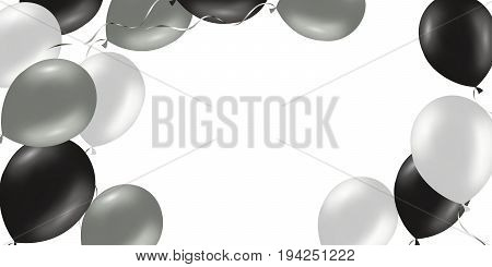 horizontal banner with black and silver helium balloons. Frame composition with space for your text. Useful for Announcement , poster, flyer, greeting card