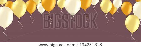Horizontal banner with golden and white helium balloons. Frame composition with space for your text. Useful for announcement , poster, flyer, greeting card