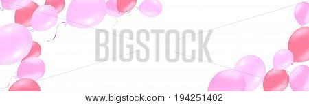 horizontal banner with pink rose helium balloons. Frame composition with space for your text. Useful for announcement , poster, flyer, greeting card