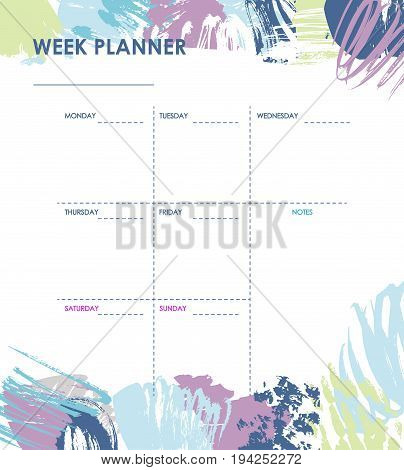 Weekly planner with grunge brush design, creative planner page