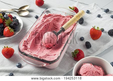 Sweet Homemade Berry Ice Cream