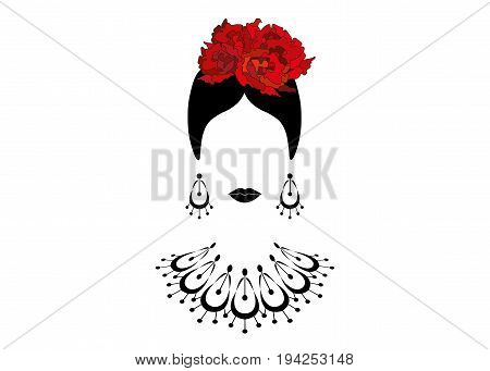 Portrait of modern Latin or Spanish woman , Lady with necklace crafts and red flowers , Icon isolated, Vector illustration transparent background