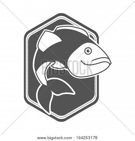 monochrome silhouette of diamond shape emblem with largemouth bass fish vector illustration