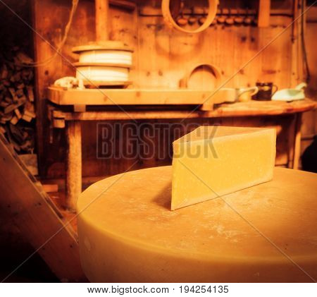 traditional cheesemaking - detail shot of a of a cheese wheel.