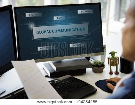 Graphic of global communication connection technology on computer