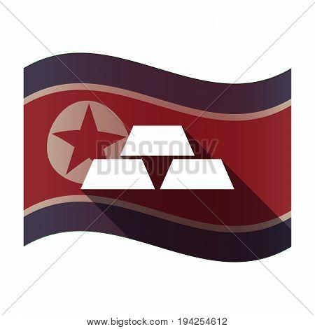 Long Shadow North Korea Flag With Three Gold Bullions