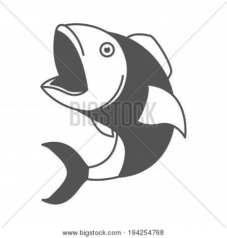 monochrome silhouette of open mouth fish vector illustration