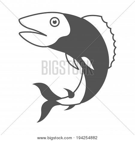 monochrome silhouette of trout fish vector illustration