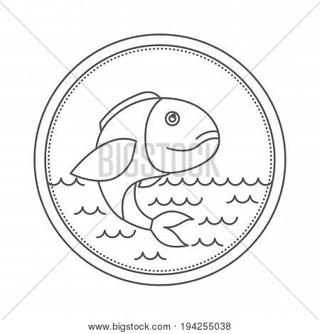 sketch silhouette of circular emblem with waves of sea and bass fish vector illustration