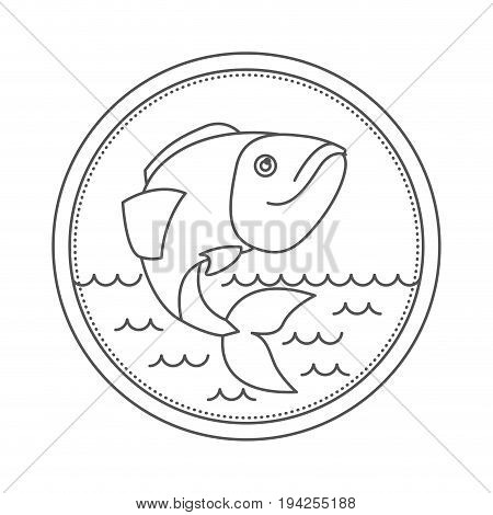sketch silhouette of circular emblem with waves of sea and largemouth bass fish vector illustration