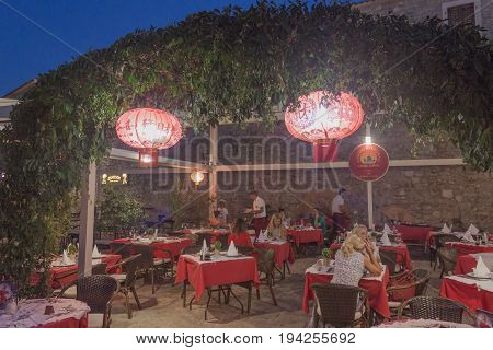 BUDVA MONTENEGRO - JUNE 26 2017: One of the many restaurants in Budva is a Chinese restaurant called Hong Kong