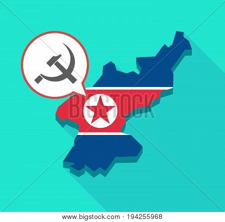 Long Shadow North Korea Map With  The Communist Symbol