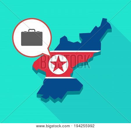 Long Shadow North Korea Map With  A Briefcase