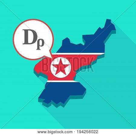 Long Shadow North Korea Map With A Drachma Currency Sign