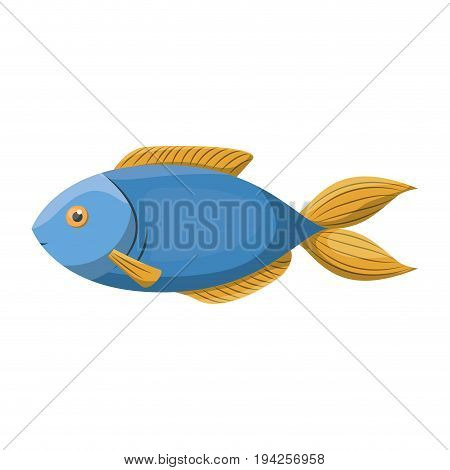 colorful silhouette of blue trout fish vector illustration