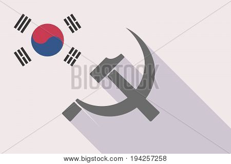 Long Shadow South Korea Flag With  The Communist Symbol