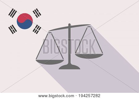 Long Shadow South Korea Flag With  An Unbalanced Weight Scale