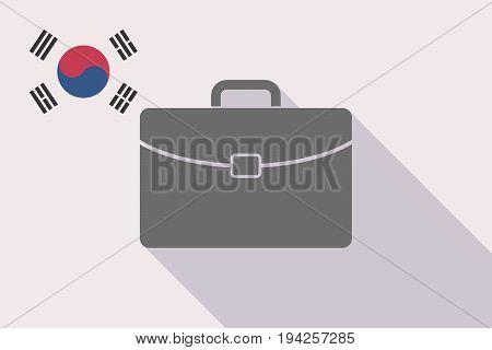 Long Shadow South Korea Flag With  A Briefcase