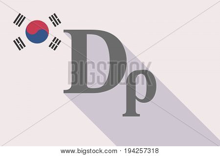 Long Shadow South Korea Flag With A Drachma Currency Sign